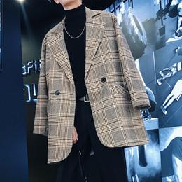koreanische graue männer langer mantel Rabatt 2018 Korean Herrenmode Lattice Woll Mischung beiläufige lose Jacke Grau / Blau Mittellanges Windjacke Cashmere Long Coat M-2XL