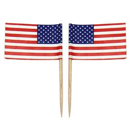 Cupcake di poliestere online-Spedizione gratuita 100pcs Mini American Flag Poliestere USA Flag Independence day Banner Cupcake Picks Sticks Stars Stripes Flag Stati Uniti