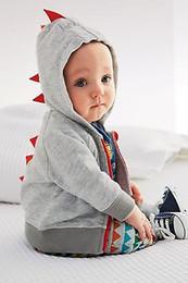 Простой серый капюшон онлайн-черные и серые новые милые горячие младенца Мальчики руно Перемычка Zipper Plain Zip Up Hoodie Dinosaur