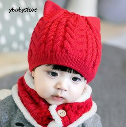 eccce642080 New pattern Autumn and winter Baby Cartoon puppy Hemp flowers Woolen hat  scarf Suit Gray Pink Red Brown Wine red 3pcs lot