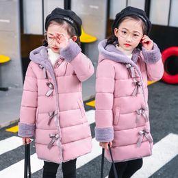 Herbst mädchen rosa jacke online-Kinder-Mantel-Herbst-Winter-Jacke für Mädchen Fashion Pink Kleidung School Girls Outwear Jacke netten Bogen Jackets 6 8 10 12 14 15Jahre