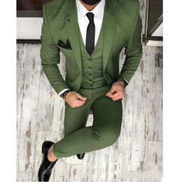 wedding tuxedo for men black satin Coupons - Hot Sale Olive Green Mens Suits Notched Lapel Groomsmen Wedding Tuxedos For Men Blazers Three Pieces Formal Prom Suit Jacket+Pants+Vest