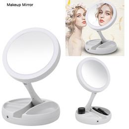 2019 ups de escritorio Espejo de maquillaje con luz LED Mesa de escritorio Mesa Cosmético de escritorio Espejos de maquillaje Soporte ajustable plegable ups de escritorio baratos