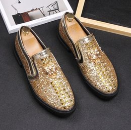 ebda1911c44 Top Sell New style Italian Men loafers Slippers Smoking Slip-on Shoes  Luxury Party Wedding Black Dress Shoes Men s Flats 1hH55 discount smoking  slippers men
