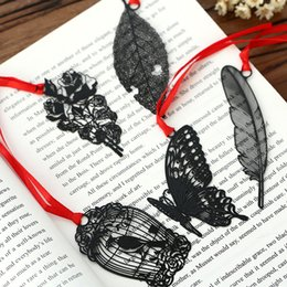 packaging bookmarks Coupons - 2019 DIY Cute Kawaii Black Butterfly Feather Metal Bookmark for Book Paper Creative Items Lovely Korean Stationery Gift Package