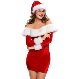 Санта-Клаус играть Рождество талисман платье из искусственного меха шить Сексуальный ночной клуб платье партии зима Слэш шеи тонкий платье Рождество костюм партии от