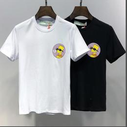 Éléments de dessin animé imprimés deux coton t-shirt hip-hop style style skateboard noir et blanc populaire nouvelle 2019 ? partir de fabricateur