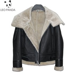 48d5d7e9e91 2019 New Women Lamb fur Bomber Real leather jacket sheepskin Double face Shearling  Coat Genuine Leather jacket Plus Size S-3XL