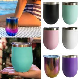 roter nachtstand Rabatt 12oz Edelstahl Stemless Vakuum isoliert heiß kalt Getränke Tassen Wasserglas
