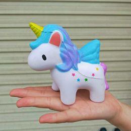 Jumbo Elastic Soft PU Squishy Медленный рост Антистрессовый Kawaii Squishies Star Unicorn Squeeze Kid Игрушечный шарм Ремешок с ремешком от