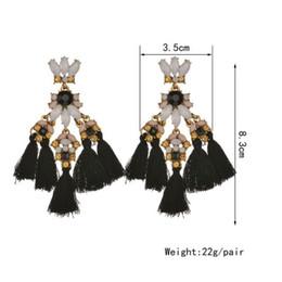 Individuelle blumen online-Böhmen Vintage Retro Multikulturelle Multicolor Blume Strass Quaste Individuelle Ohrringe Für Frauen Schmuck Geschenk E1487