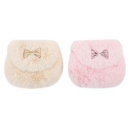 Меховой мех онлайн-New Cute Children Princess Girl Kids Mini Cross body Bag Fashion Bowknot Imitation Fur Shoulder Messenger Bag Purse