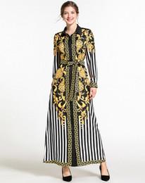 2019 ropa bohemia barata Diseñador de la marca de gama alta vestido de dama Moda europea y americana Estampado de manga larga vestido de manga larga vestido mid269