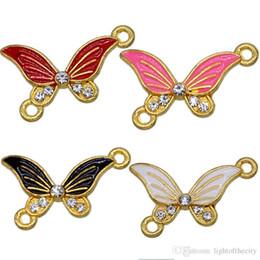 Canada 50pcs nouvelle couleur mélangée émail art papillon 2 trou connecteur charme perles pour femmes bricolage fabrication de bijoux accessoires fit bracelet en gros cheap enamel butterfly jewelry Offre