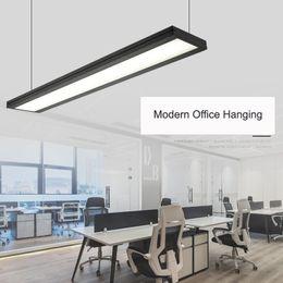 barra de luz led lineal Rebajas Dynasty Office LED Light Linear Modern Lámpara Colgante Barra Colgante Droplight Para Sala de Conferencias Estudio En casa Accesorios Decorativos Envío Gratis