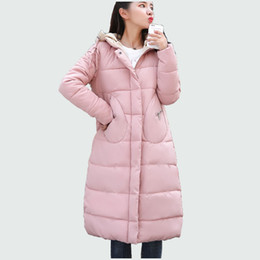 0cc79581fc4 Winter Women Parkas Korean Fashion Long Style Hooded Solid Thick Warm  Winter Jacket Coat Cotton Padded Coat For Female