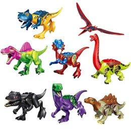 Bloco jurássico on-line-Nova colorido dinossauro Tiranossauro Dragon Sword Spinosaurus Trovão Dragão Jurassic montado blocos de dinossauros crianças brinquedos DHL
