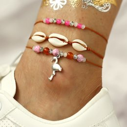 pink shell bracelet Coupons - New Summer Beach Red Rope Ankle Bracelets for Women Bohemian Creative Shell Pendant Pink Beads Foot Chain Anklets Set