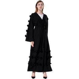 Moda vestido de frente aberto on-line-Plus Size Moda Feminina Muçulmano Solto Robe Flores Decoração Frente Aberta Cintura Amarrada Manga Longa Vestido Árabe Abaya Islâmico Cardigan