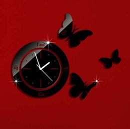 relógio borboleta preto Desconto Preto Rodada Com Borboletas Arte Moderna DIY Removível 3D Espelho de Cristal Relógio de Parede Relógio de Parede Sala de estar Quarto Decoração