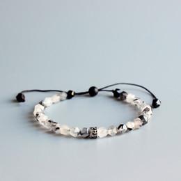 Китайские каменные браслеты онлайн-6мм Столкнувшись Натуральный китайский чернила камень Мала бисер браслет тибетский буддийский Шесть Истинное Слово Ом Мани Падме Хум браслет ручной работы
