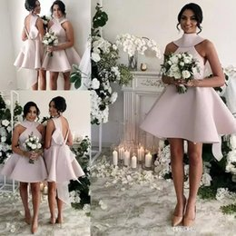 gold bridesmaid dresses knee high Coupons - 2019 Vintage 1950s Style Short Halter Satin Bow Back Bridesmaids Formal Dresses A-Line High Neck Backless Short Sleeve Knee Length Glamorous