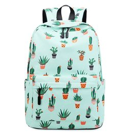Mochila rosa-verde on-line-Bola Fada impermeável Impressão Planta Backpack Mulheres Cactus Bookbag Bolsa bonito da escola para meninas adolescentes Kawaii Rosa Verde Mochila