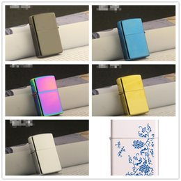 oil porcelain Coupons - Newest Gasoline Fire Retro Metal Black Ice Cigarette Lighter Smoking Fuel Refillable Oil Lighters Blue and white porcelain 6 color choose