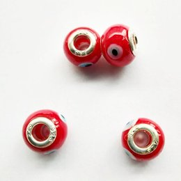 10 * 14 mm Oeil Perles De Verre Couleur Mixte Perle De Verre Grand Trou DIY Intercalaire Européen Murano Chunky Perle Tchèque Fit Pour Charms Bracelet ? partir de fabricateur