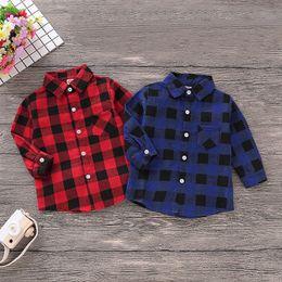 Camisas para bebés online-Niños camisas de manga larga Baby Boy Lapel Tops Niños diseñador Ocio Trajes Ropa Niño pequeño Baby Boy Otoño Abrigo cálido 06