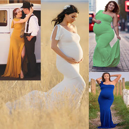 3803e91936497 Maternity Dresses For Photo Shoot Maternity Elegant Sexy Photography Props  Shoulderless Pregnant Women Long Dress For Baby Shower Gift