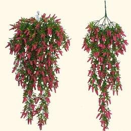 Artificiale appeso a parete fiore finto vite fai da te soggiorno matrimonio mazzo arredamento cesto di fiori in rattan lavanda parete appesa glicine da