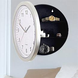 Armazenamento de jóias de parede on-line-Relógio de parede Forma de Caixas de Jóias Dinheiro Assista Brinco Escondido Caixa De Armazenamento Branco Casa Decorativa Criativo Cofre Venda Quente 18wyD1