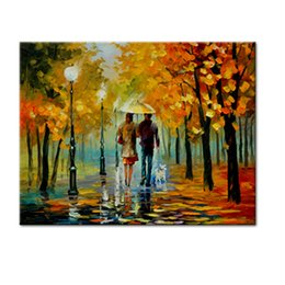 contemporary pictures paintings Coupons - Abstract Wall Picture Couples Walking in Rain Scenery Canvas Painting Prints Wall Art Contemporary Artwork Home Decor