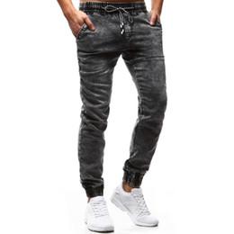 2019 jean moyen délavage hip hop Jeans en denim coupe délavage pour hommes avec cordon de serrage à la taille, coupe slim près du corps Hip Hop Streetwear Jean Jogger jean moyen délavage hip hop pas cher