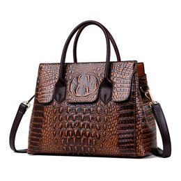 2019 grandes bolsas de corpo cruz 2019 New Vintage Jacaré Genuíno Couro De Luxo Senhoras Bolsas Mulheres Sacos de Designer de Mulher Bolsa de Ombro Feminino Bolsas Feminina