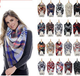 womens checked scarf Promo Codes - Womens Oversized Tartan Plaid Blanket Scarf Large Checked Wrap Shawl Winter Warm Plaid Blanket Scarf Women Tartan Tassels Scarf KKA2768