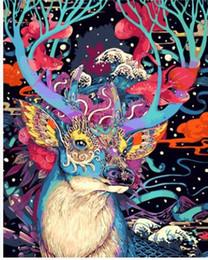 2019 pintura dormitorio principal Envío gratis Sin Marco Ciervos de Navidad Animales DIY Pintura Por Números Kits Pintado a Mano Pintura Al Óleo Regalo Único Para la Pared de Arte en Casa 40x50
