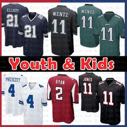 d88e87b2c45 China Youth Kids Philadelphia Eagles 11 Carson Wentz Dallas Jersey Cowboys  4 Dak Prescott 21 Ezekiel