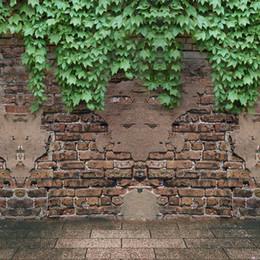 novo fundo da foto da parede Desconto Parede de Tijolo Antigo Fundo Fotográfico Vinil Verde Folha Decoração New Born Wedding Crianças Backdrops Para Estúdio de Fotografia
