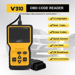 Leitor de código pin automático on-line-V310 Código Car Leitor Auto CAN OBD2 Scanner V1.1 16 pin masculino Motor Refrigerante Temp Car Ferramenta de diagnóstico OBDII velocidade Probe