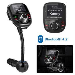 Neue bluetooth freisprecheinrichtung mp3 online-Neue BT002 Bluetooth Freisprecheinrichtung FM Transmitter Car Kit MP3 Musik Player Radio Adapter Mit Telefonnummer Für iPhone Samsung huaweiLG Smartphone