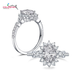 2019 alo fiore all'ingrosso vendita all'ingrosso Oval Cut 2ct Halo Anello di fidanzamento Solid 925 Sterling Silver Donne Cubic Zirconia Jewelry Flower Design CZ Halo Rings alo fiore all'ingrosso economici