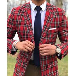 trajes blancos únicos Rebajas Dos piezas de tela escocesa hombres Trajes de boda del novio de los smokinges ajuste delgado del juego del hombre de la solapa de Peaked Blazer pantalones por encargo 2019