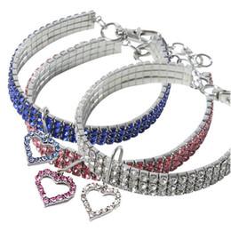 colar de diamante rosa Desconto 10pcs lot Tensible Pet Dog Cat Necklace Inlaid with Bling Rhinestones Pet Necklace with Heart Pendant