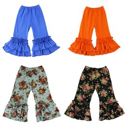 floral cotton trousers Coupons - Girls Ruffle Flared Pants 20 Design Toddler Little Floral Trousers Kids Designer Clothes Girls Autumn Cotton Pagoda Pants Casual Outfits 06