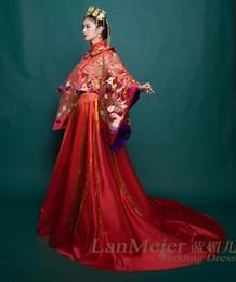 Настоящий красный павлин онлайн-100% реальный красный павлин роскошное платье коронации вышивки королева принцесса платье викторианской / мария / драма сценическое платье / длинное платье