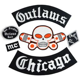 Remendos ilegais on-line-Outlaw CHICAGO Perdoa remendo do Motociclista Rider Remendo BACK Bordado biker Patches Emblema 6 PÇS / LOTE