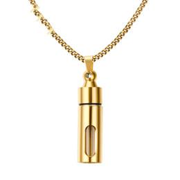2020 pendente di bottiglia di profumo dell'oro Collana in acciaio inossidabile oro e argento nero con bottiglia di profumo Collana con pendente a forma di ciondolo commemorativo in cenere sconti pendente di bottiglia di profumo dell'oro