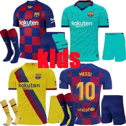 Conjunto completo de jersey online-KIDS kits 2019 2020 Soccer Jersey Barcelona Camisetas de Fútbol 19 20 Barca Messi DE JONG GRIEZMANN Rakitic Football Jersey kits completos Sets